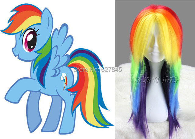 My Little Pony Rainbow Dash Cosplay Wig Rainbow Color Hair Friendship Is  Magic Anime Party Wig