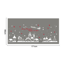 Diy white snow town christmas wall stickers window glass festival decals murals Christmas Decorations for Home decor