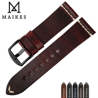 MAIKES Vintage Simple Genuine Leather Watch Accessories 22mm 24mm Watch Band Silver Black Steel Buckle Thin