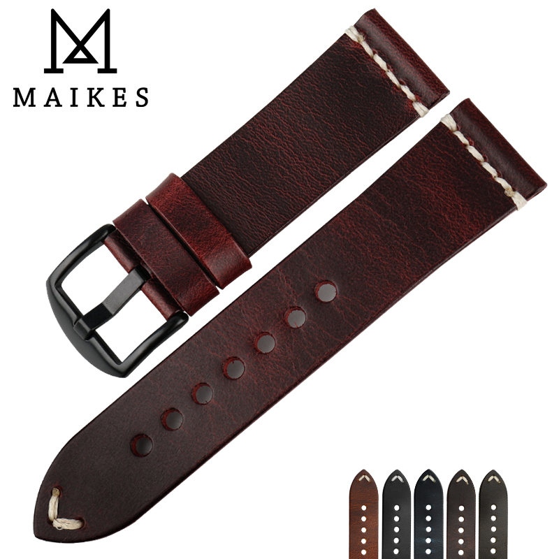 MAIKES Vintage Simple Genuine Leather Watch Accessories 22mm 24mm Watch band Silver & Black Steel Buckle Thin Strap Bracelets
