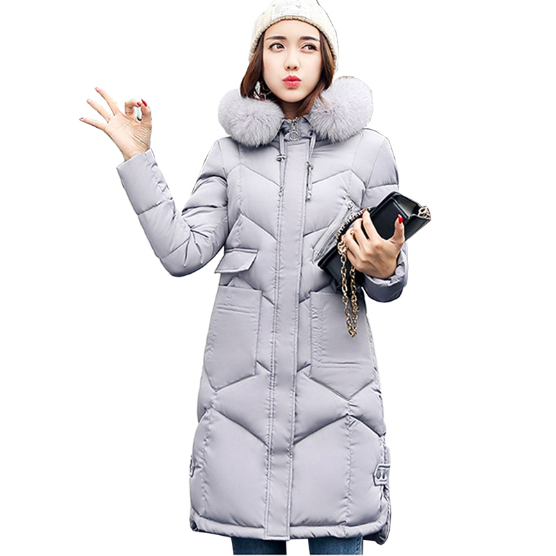 winter women hooded coat feminino new 2017 fur collar thicken warm Slim long jacket female outerwear parka ladies coat 3L83 пояс для единоборств rusco цвет оранжевый ут 00010491 длина 260 см
