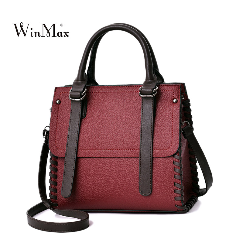 Women Leather Handbags Vintage Shoulder Bag Female Casual Tote Bags High Quality Lady Designer Handbags sac a main Crossbody Bag trapeze hello kitty bag leather women female designer handbags high quality tote bags bolsas femininas couro sac a main 40