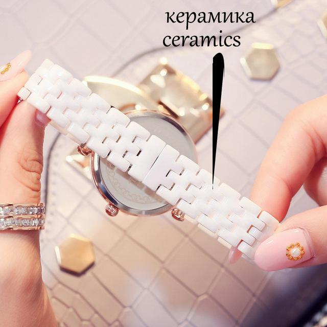 KEZZI Top Brand Relogio Feminino Women's Ceramic Wrist Watches Shell Rhinestone Ladies Bracelet Watch Waterproof Quartz Watch