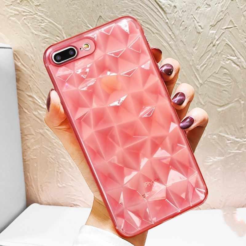 高級 3D ダイヤモンドテクスチャ iphone 5 5 s 6 6 s 7 8 プラスソフト電話カバー iPhone × XR XS 最大透明超薄型