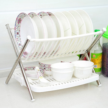 Double layer folding stainless steel rod bowl rack drain double dish shelf wankuai storage products