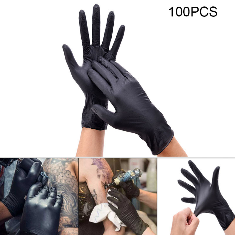 100Pcs Disposable Nitrile Tattoo Gloves Laboratory Acid Alkali Resistance Defense Clean Gloves Durable One-time Tattoo Gloves
