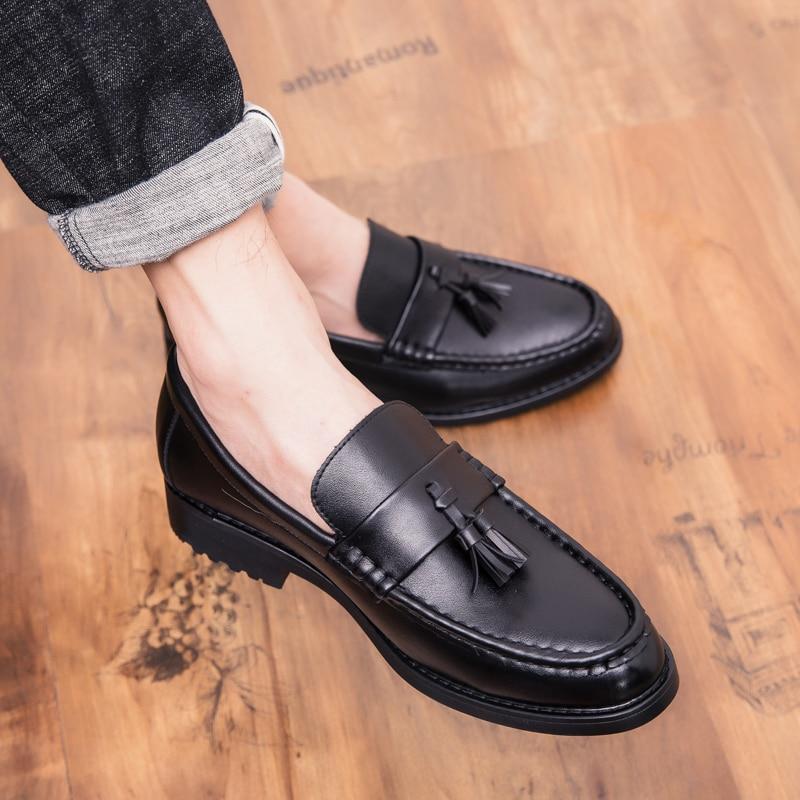 Men Flat Formal Patchwork Tassel   Leather   Shoes outdoor Handmade Wedding Party Men Loafers business dress Moccasins Dress Shoes 5