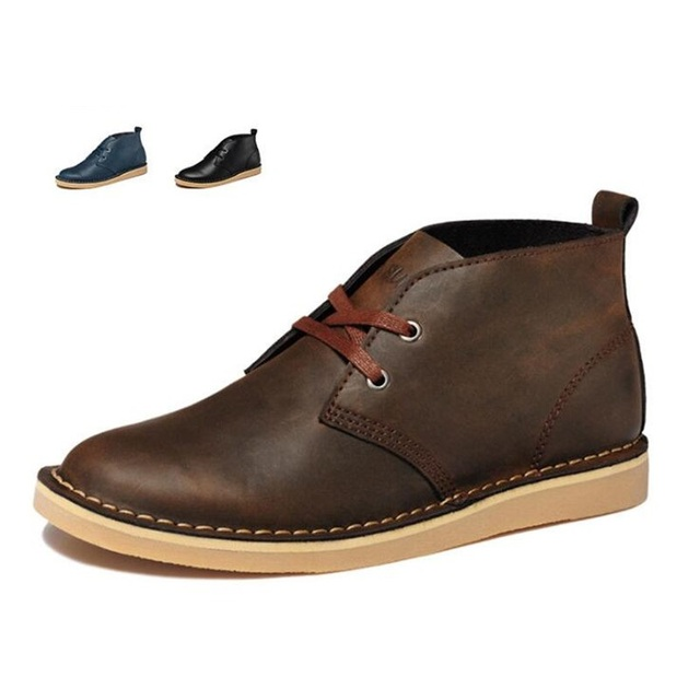 New Men's Boots Second Skin Leather Men's Shoes Leisure Fashion Male Genuine Leather Boots Hombres zapatos casuales