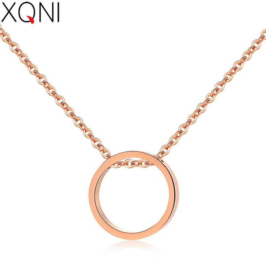 XQNI Simple Design Temperament Big Circle Pendant Stainless Steel Rose Gold Female Short Paragraph Necklace For Women Gift