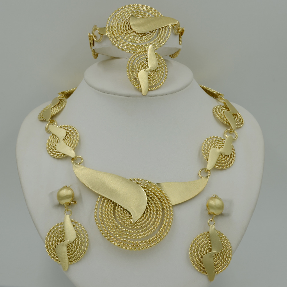 2017 new handmade dubai gold jewelry sets fashion big