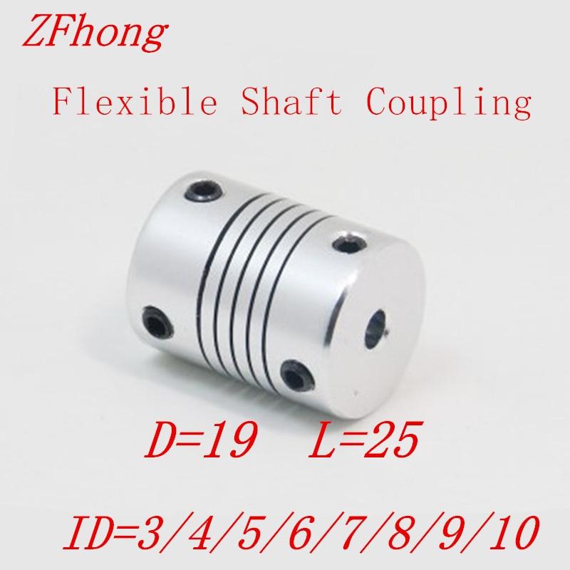 1PC ID= 5 6 6.35 7 8 9 10mm D19*L25 Aluminium CNC Stepper Motor Flexible Shaft Coupling Coupler Encoders Engraving Machine форма для леденцов cnc machine монпансье two 9 5 9 5 см