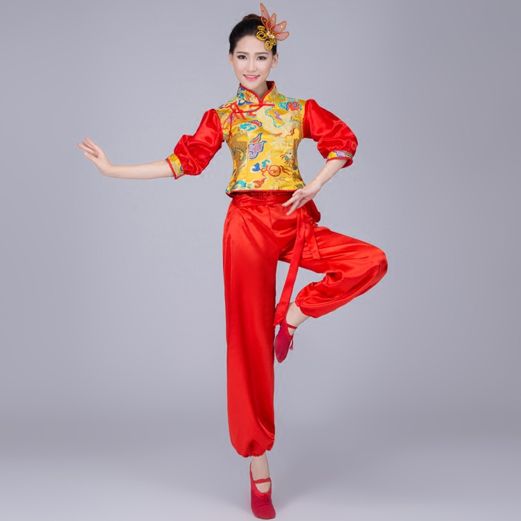 Kinesisk Folk Dans Kostym Midja Trumma Yangko Danskläder Fan Dance - Nya föremål