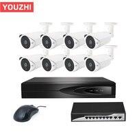 8 channels 2MP poe switch system surveillance 1080p camera nvr cctv kit