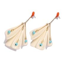 aiboduo Korean Petal shell Geometric Transparent Acetate Asymmetric Long Earrings Simple Branch Statement Women Jewelry