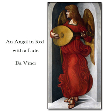 An Angel in Rrd With Lute by Da Vinci Wall Picture Poster Print Canvas Painting Calligraphy for Living Room Bedroom Home Decor