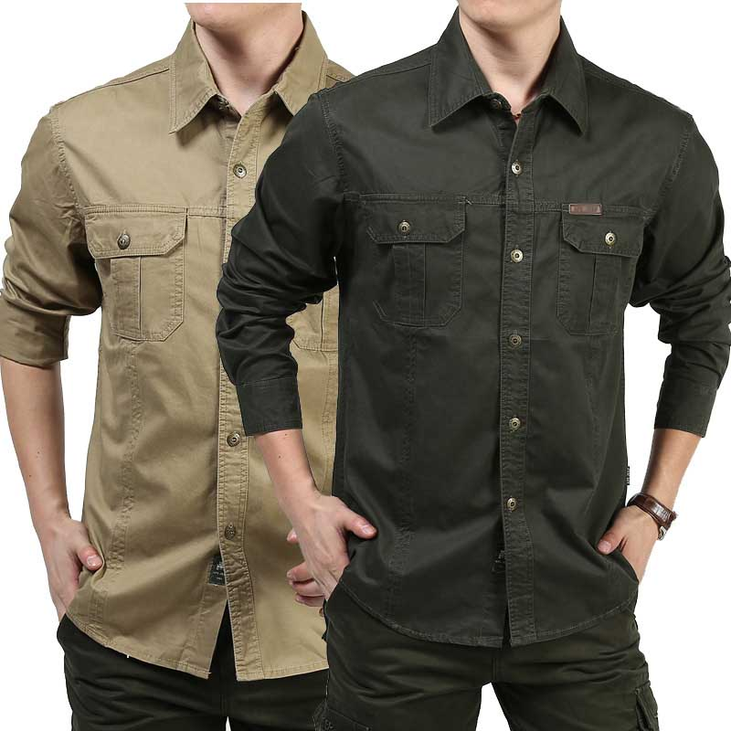 Men Shirts Long Sleeve Cotton Loose Military Cargo Shirts Outdoor Army Shirts Spring Autumn Male Clothing Plus Size 6XL