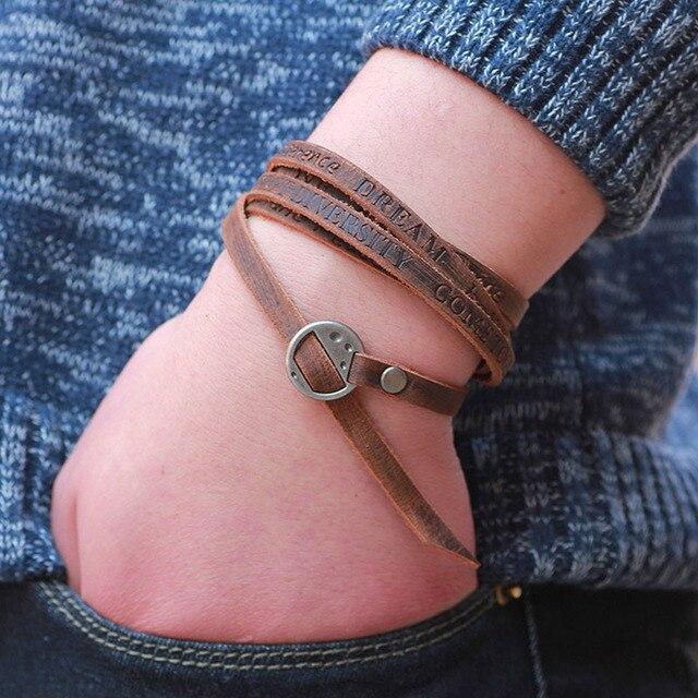 LNRRABC Bracelets 1PC New Fashion Vintage Multilayer Bracelets For Men Unisex Jewelry Bangle Bracelets Summer Accessories