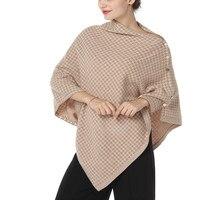 new arrivals 100%goat cashmere plover case grain jacquard knit woman's buckle scarfs pashmina poncho big size 65X135cm