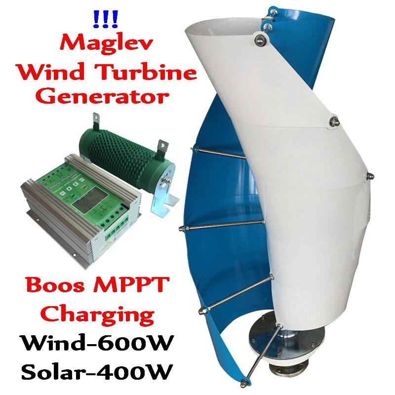 Generador de turbina de viento de eje Vertical 12 V 24 V 1000 W generador de viento + 600 W Boost MPPT Wind 400 W Solar 400 W controlador de carga híbrido