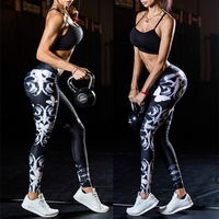 Breathable Women's Gym Yoga Leggings  Floral Prints Pants Running Fitness Trousers Outdoor Excercise Long Pants Tight Leggings