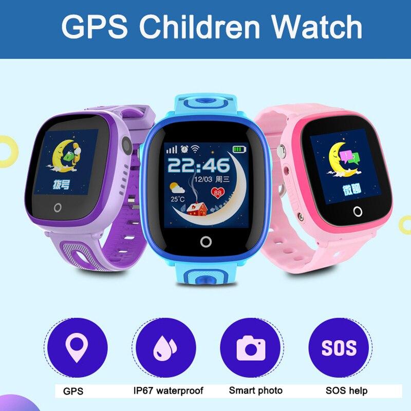 GPS + LBS DF31G Inteligente Crianças Assistem Crianças Assistir Tela De Toque Do Cartão do SIM Chamada SOS Rastreador À Prova D' Água Do Bebê Monitor Smartband pk q90