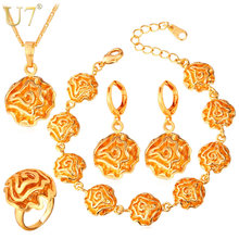 U7 Dubai Gold/Silver Color Jewelry Sets For Women Flower African Costume Jewelry Set Wedding For Brides S695(China)