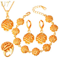 Dubai Gold Plated Jewelry Sets For Women 18K Gold Platinum Plated Flower African Costume Jewelry Set