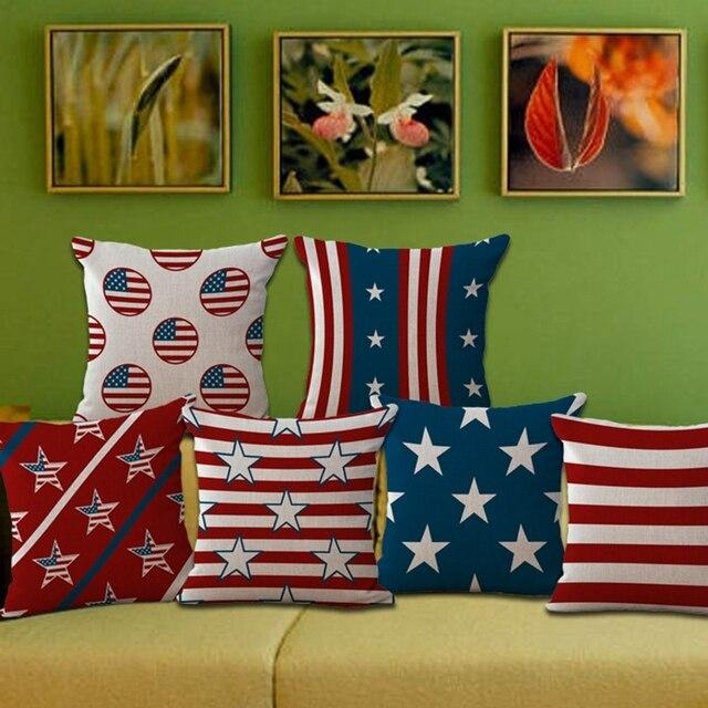 40 Piece Famous Designer American Flag Series Pattern Seat Hug Pillow Simple American Flag Decorative Throw Pillow