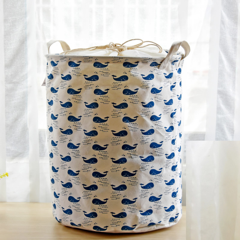 Cartoon Folding Laundry Baskets Dirty Clothes Storage Bag Cotton Linen Washing Hamper ...