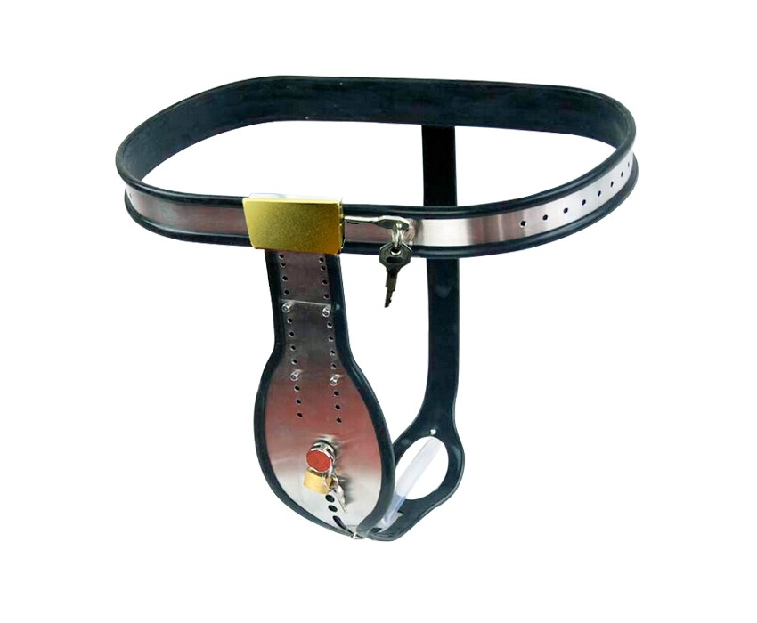 Adjustable Stainless Steel T-shaped male Chastity Belt With Removable anal Plug Chastity Devices Bondage Sex Toys For men