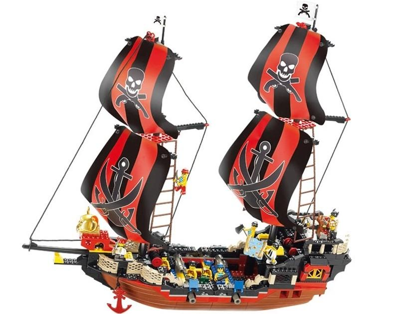 B0129 632pcs Pirates The Black Pearl Building Blocks Enlighten DIY Bricks 3D Construction Toys for Children купить в Москве 2019