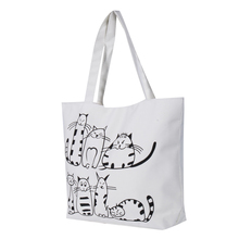 Women Canvas Handbag cartoon Cat Printed Shoulder bag Female Large Capacity Ladies Beach Bag Women Canvas Tote Shopping Handbags