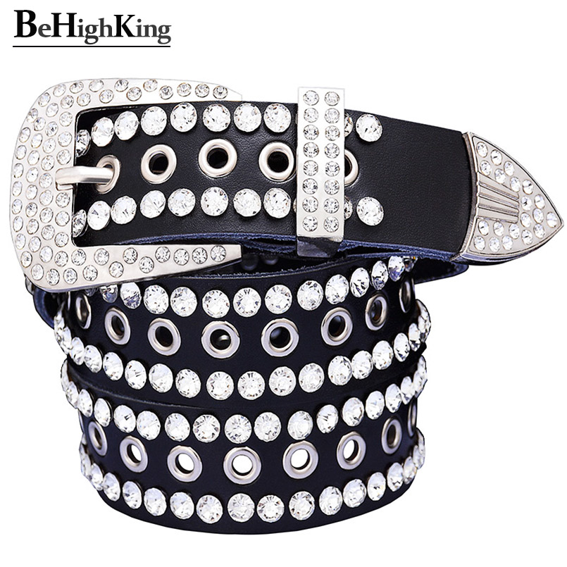 Fashion Rhinestone Belts For Women Metal Hollow Genuine Leather Men's Belt Quality Cow Skin Luxury Unisex Waist Strap Width 3.3