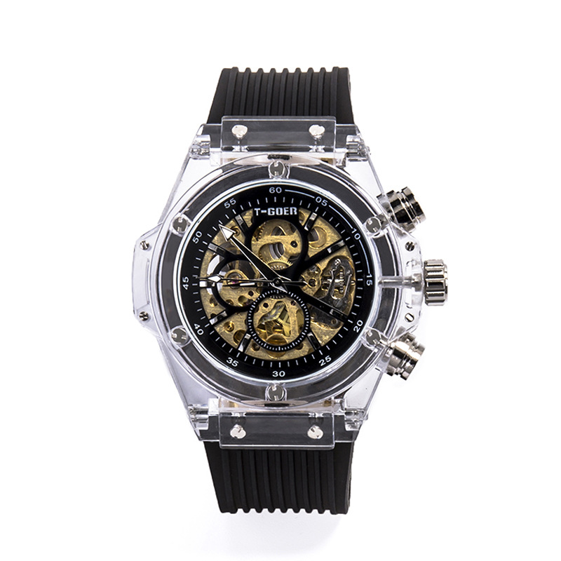Net Red Fashion Transparent Automatic Hollow Calendar Men And Women Students Waterproof Couple Mechanical Watch