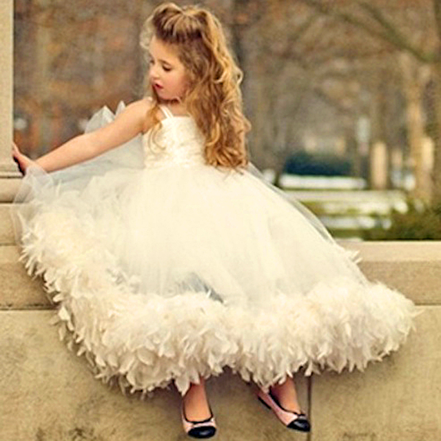 9d25799a5 Cute Custom Ivory Handmade Tutu Flower Girl Dress Beautiful Birthday Gown  Communion Girls Puffy Pretty Long Dresses For Kids