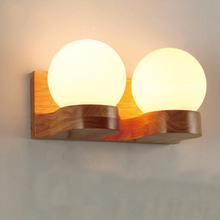 Modern Wood White Glass Bedroom Bedside Led Wall Lamp Living room Wall Light Aisle Corridor Bathroom Wall Sconce 110/220V E27 modern simple lighting artistic metal wall lamp white painted for living room study room office bedroom corridor e27 wall light
