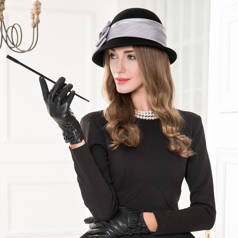 Elegant Autumn Winter Wool Fedoras Hat Black Bow Curl Birm Hat Protect Ear Warm Bowler Floppy Ladies Churh Cloche Cap B-7521