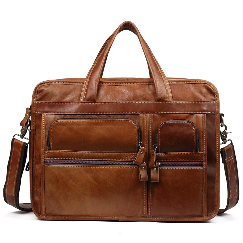 Nesitu Vintage Gift For Husband Boyfriend Brown Coffee A4 Genuine Leather Office Men Briefcase Portfolio Messenger Bags M9913