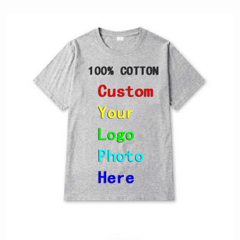 2020 Unisex Custom Logo 인쇄 된 맞춤형 남성 티셔츠 맞춤형 단색 텍스트 사진 의류 광고 Tshirt