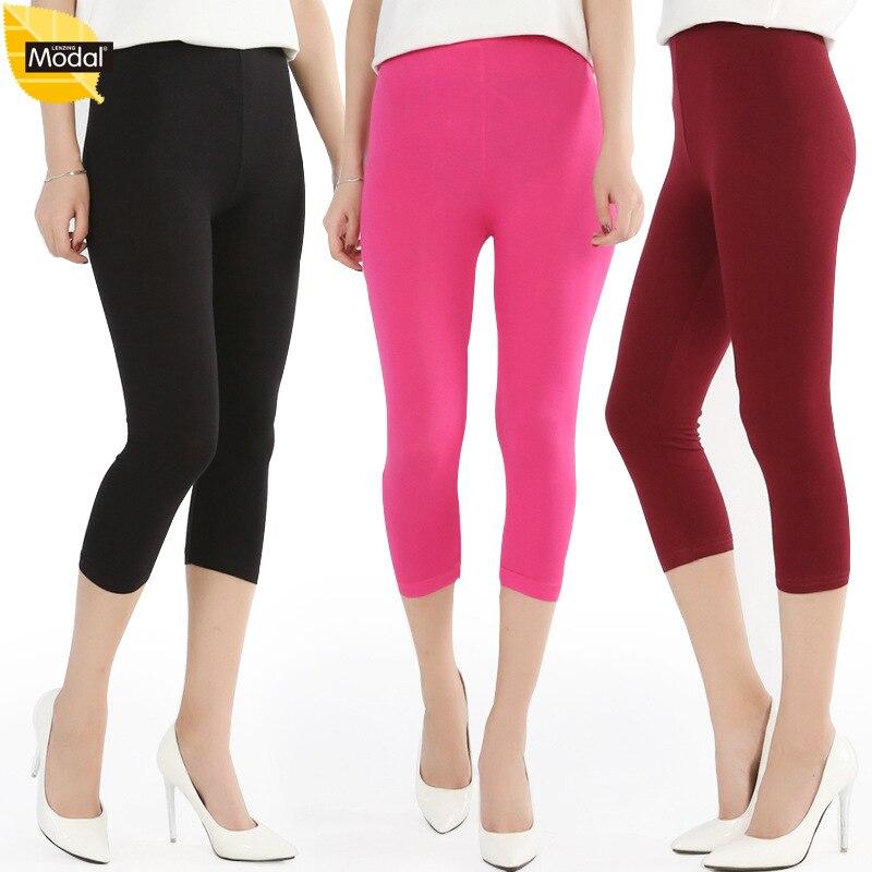 2017 Neue Ankunft Frauen Leggings Sommer Stil Modal Dünger Plus Größe 8xl Große Größe Candy Farbe Frauen Hosen