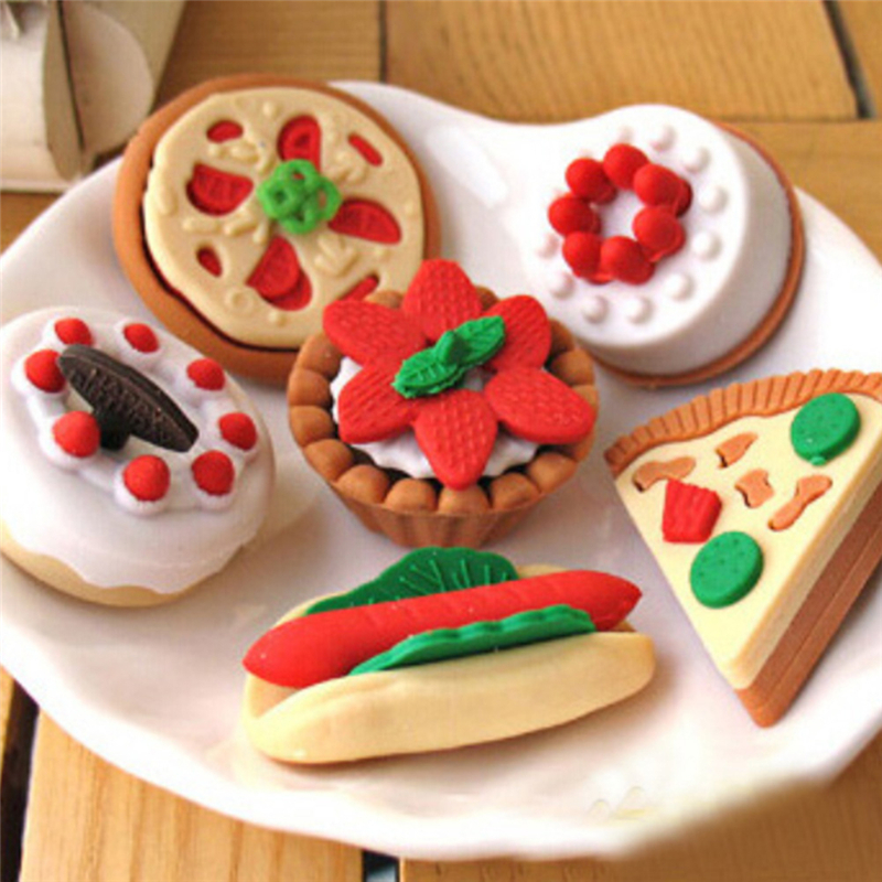 4Pcs/Lot Random Eraser Rubber Stationery New Cake Ice Cream Biscuit Shaped Creative Cute School Supplies