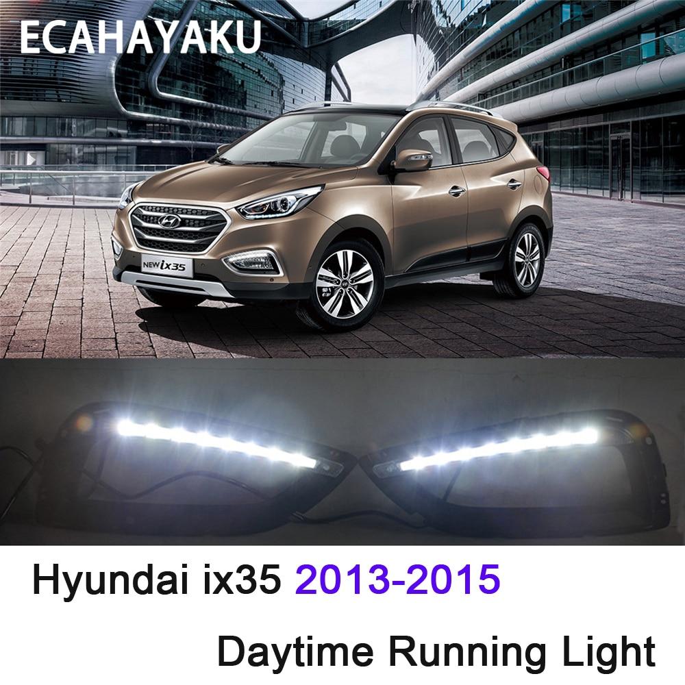 ECAHAYAKU Waterproof car light 12V super bright LED DRL Daytime Running Lights with fog lamp hole For Hyundai IX35 2013-2015 стоимость