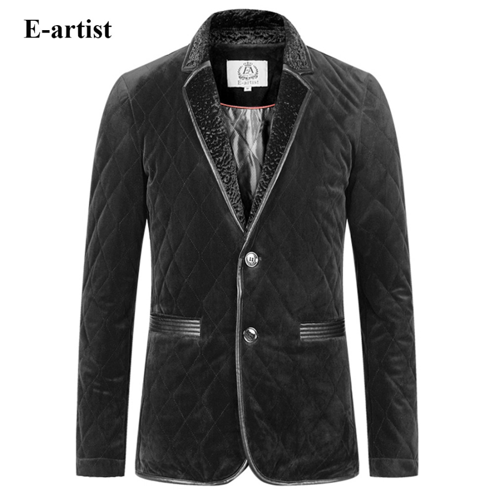E-artist Men's Casual Velvet Padded Jackets Coats with Fur Collar Male Winter Thicken Parkas Outwear Overcoats Plus Size 5XL A35 e artist men s long winter jacket velvet padded jackets trench coats parka thick fit casual outdoor black wine plus size 5xl a65