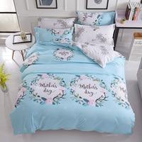 Blue/Gray Floral Garland 4PCS Bedding Set comfortable bedclothes flower duvet cover bedlinen romantic Home textile Tropical tree