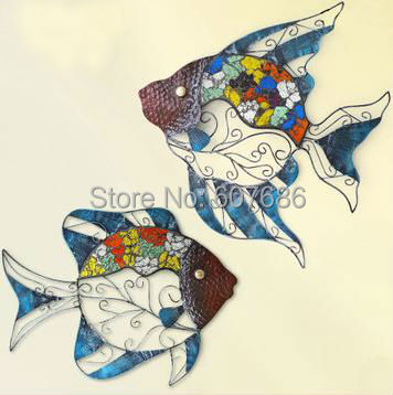 2 Pieces Handmade Iron Glass Fish Rust Free Hand Painted Metal Fishes Wall Hanging Art Decor Home Bedroom EMS Free Shipping