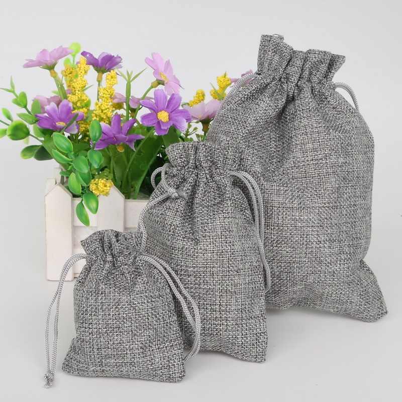 Серый Цвет Хлопок Лен подарок сумки Свадебная вечеринка пользу держатель Neckalce браслеты ювелирные изделия муслин упаковка Рождественский мешочек