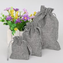 Gray Color Cotton Linen Gift Bags Wedding Party Favor Holder Neckalce Bracelets Jewelry Muslin Packaging Christmas Pouch(China)