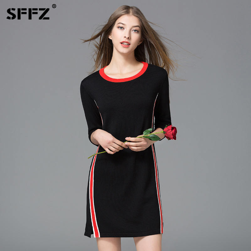 SFFZ Women Sweater Design Brand Casual Half Sleeve Womens Sweaters Pullovers O-Neck Fashion Black Lady Pullover Clothes Tops