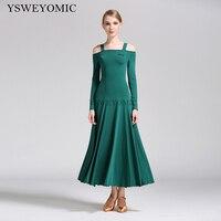 2019 Dark Green 7 Colors High Quality Waltz Ballroom Dress Standard Long Sleeve Practice Cheap Ballroom Dresses For Ladies S9008