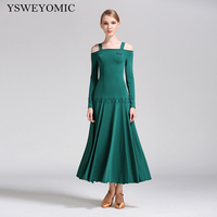 2019 Dark Green 7 Colors High Quality Waltz Ballroom Dress Standard Long Sleeve Practice Cheap Ballroom Dresses For Ladies S9008